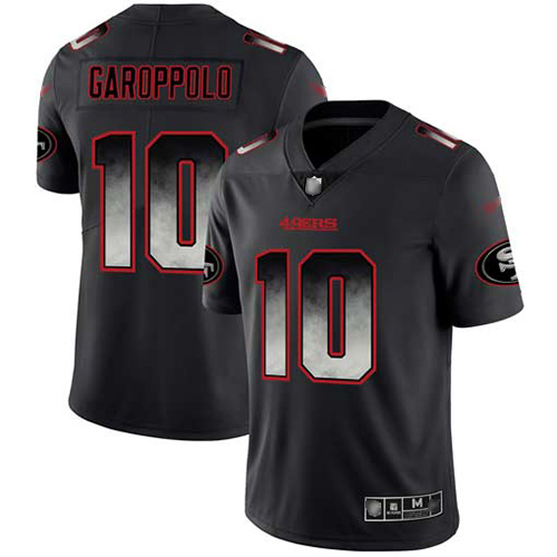 49ers #10 Jimmy Garoppolo Black Men's Stitched Football Vapor Untouchable Limited Smoke Fashion Jersey