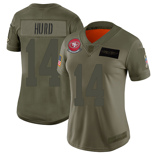 49ers #14 Jalen Hurd Camo Women's Stitched Football Limited 2019 Salute to Service Jersey