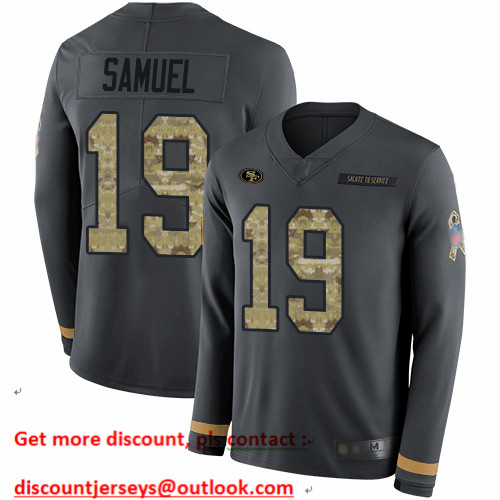 49ers #19 Deebo Samuel Anthracite Salute to Service Men's Stitched Football Limited Therma Long Sleeve Jersey