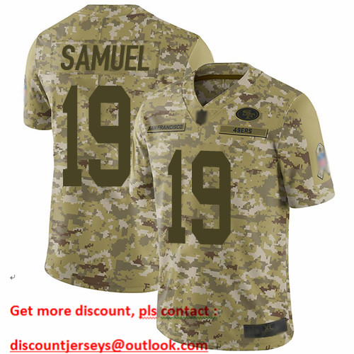 49ers #19 Deebo Samuel Camo Men's Stitched Football Limited 2018 Salute To Service Jersey