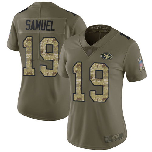 49ers #19 Deebo Samuel Olive Camo Women's Stitched Football Limited 2017 Salute to Service Jersey