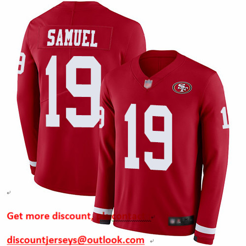 49ers #19 Deebo Samuel Red Team Color Men's Stitched Football Limited Therma Long Sleeve Jersey