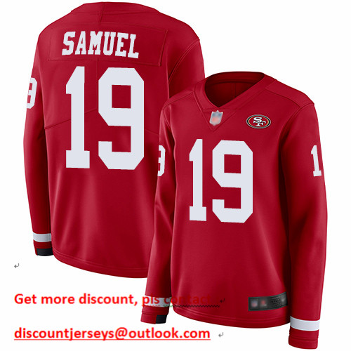 49ers #19 Deebo Samuel Red Team Color Women's Stitched Football Limited Therma Long Sleeve Jersey