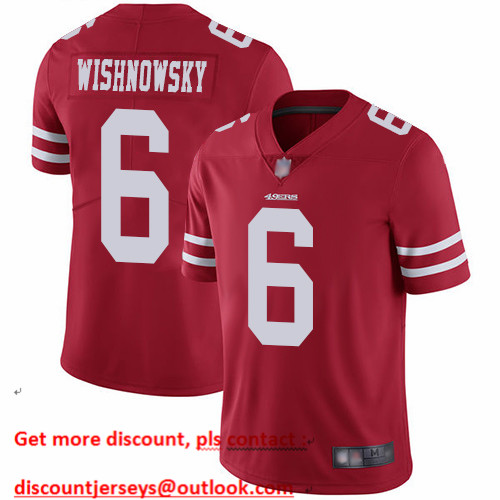 49ers #6 Mitch Wishnowsky Red Team Color Men's Stitched Football Vapor Untouchable Limited Jersey