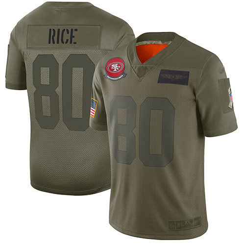 49ers #80 Jerry Rice Camo Men's Stitched Football Limited 2019 Salute To Service Jersey