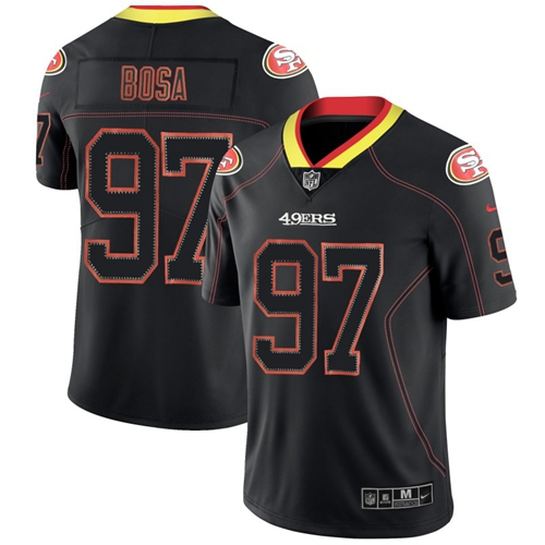 49ers #97 Nick Bosa Lights Out Black Men's Stitched Football Limited Rush Jersey