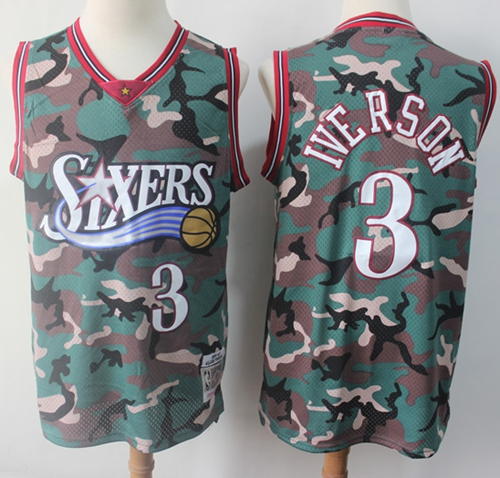 76ers #3 Allen Iverson Camo Stitched Basketball Swingman Jersey