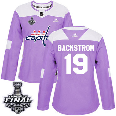 a0a1d0bdddf Adidas Capitals  19 Nicklas Backstrom Purple Authentic Fights Cancer 2018  Stanley Cup Final Women s Stitched