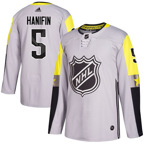 Adidas Hurricanes #5 Noah Hanifin Gray 2018 All-Star Metro Division Authentic Stitched Youth NHL Jersey