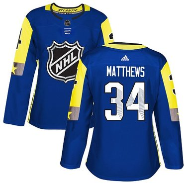 Adidas Maple Leafs #34 Auston Matthews Royal 2018 All-Star Atlantic Division Authentic Women's Stitched NHL Jersey