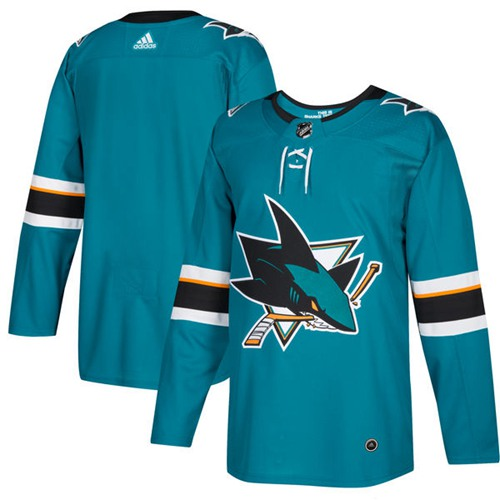 7ec9b9b7c Adidas Sharks Blank Teal Home Authentic Stitched NHL Jersey