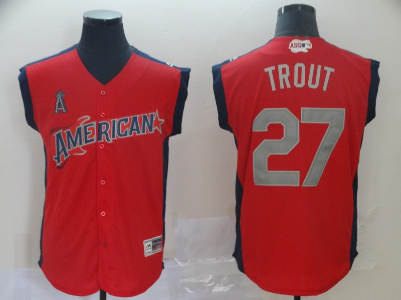 American League 27 Mike Trout Red 2019 MLB All-Star Game Workout Player Jersey