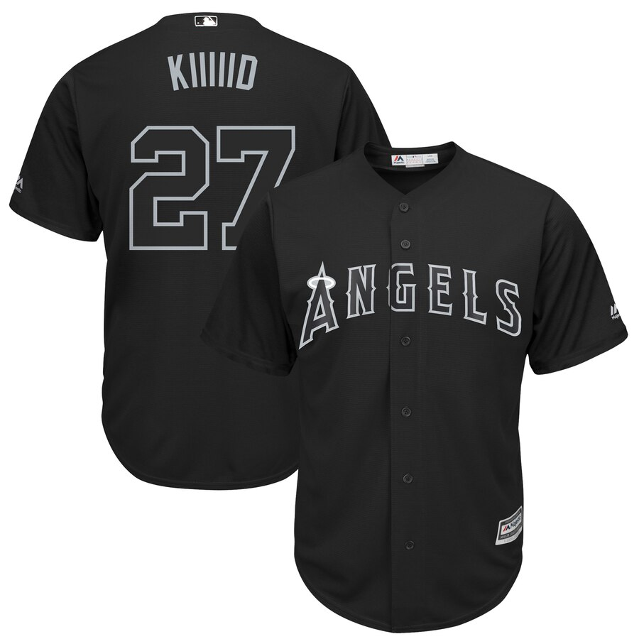 Angels 27 Mike Trout Kiiiid Black 2019 Players' Weekend Player Jersey