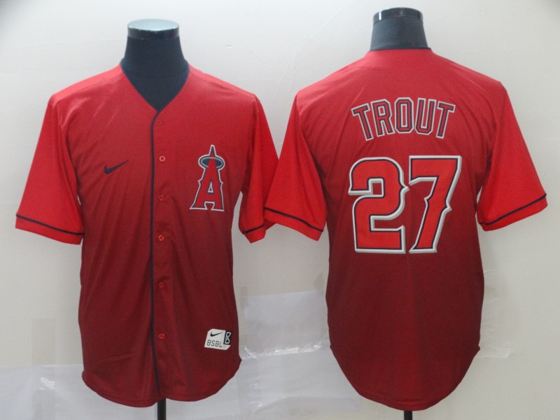 Angels 27 Mike Trout Red Drift Fashion Jersey