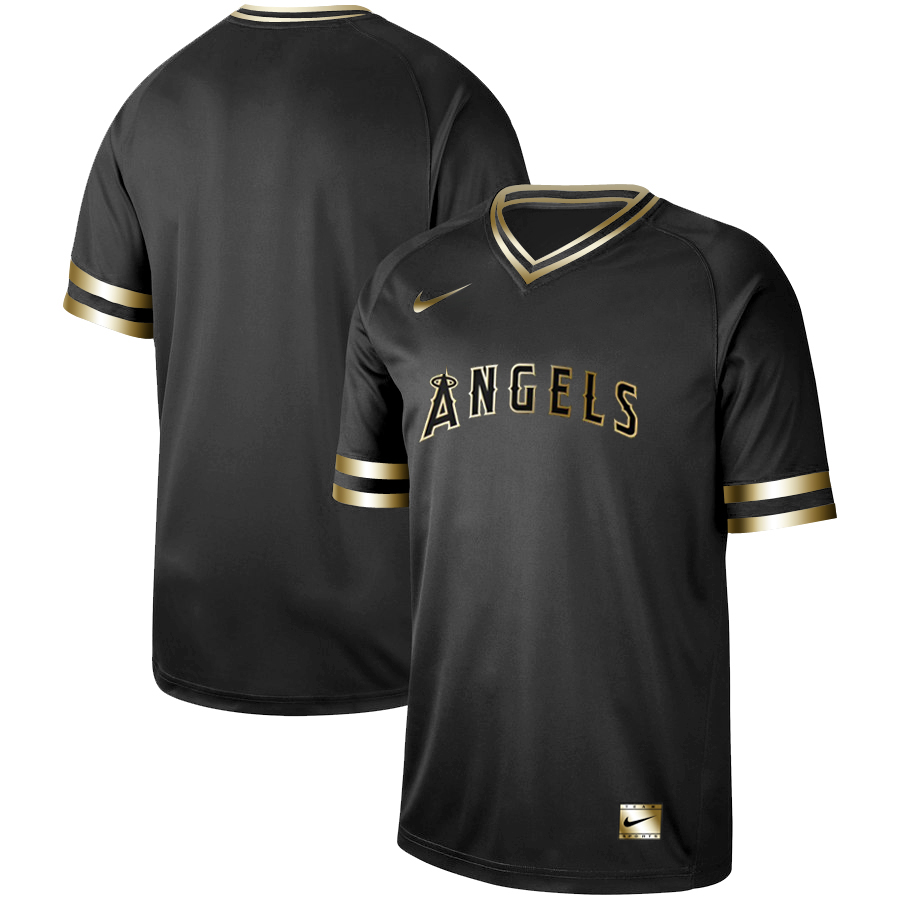 Angels Blank Black Gold Nike Cooperstown Collection Legend V Neck Jersey