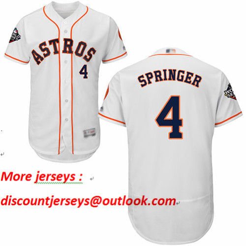Astros #4 George Springer White Flexbase Authentic Collection 2019 World Series Bound Stitched Baseball Jersey