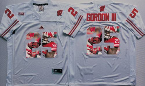 Badgers #25 Melvin Gordon III White Player Fashion Stitched NCAA Jersey