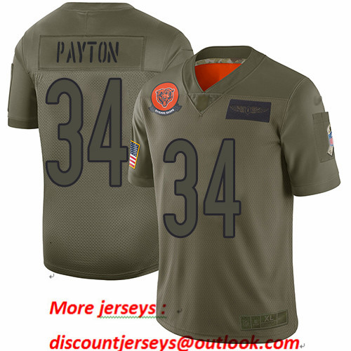 Bears #34 Walter Payton Camo Youth Stitched Football Limited 2019 Salute to Service Jersey