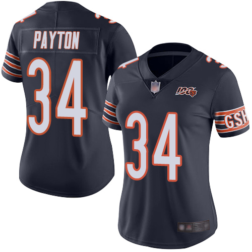Bears #34 Walter Payton Navy Blue Team Color Women's Stitched Football 100th Season Vapor Limited Jersey