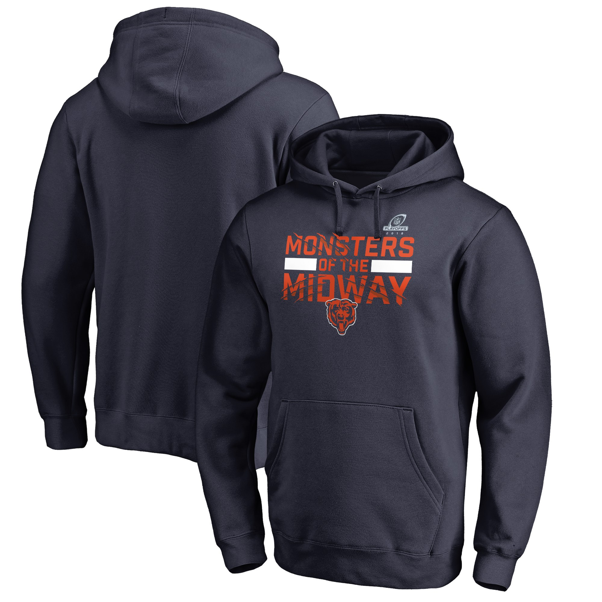 26aa44fd Bears Navy 2018 NFL Playoffs Monsters Of The Midway Men's Pullover Hoodie