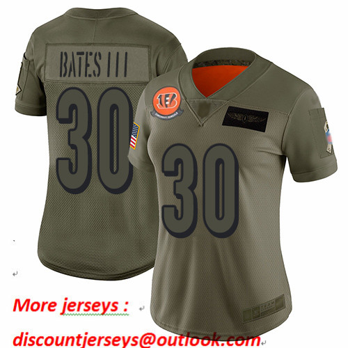 Bengals #30 Jessie Bates III Camo Women's Stitched Football Limited 2019 Salute to Service Jersey