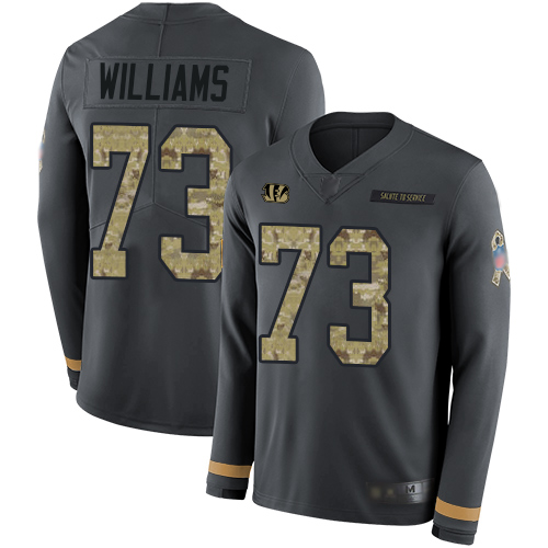 Bengals #73 Jonah Williams Anthracite Salute to Service Men's Stitched Football Limited Therma Long Sleeve Jersey