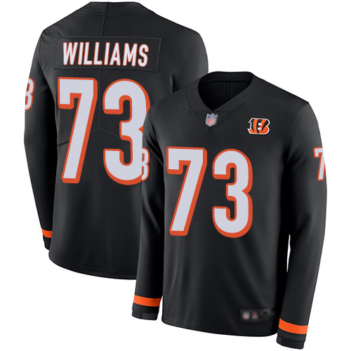 Bengals #73 Jonah Williams Black Team Color Men's Stitched Football Limited Therma Long Sleeve Jersey
