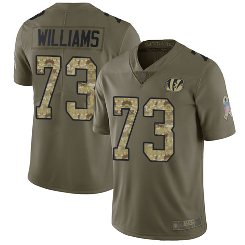 Bengals #73 Jonah Williams Olive Camo Men's Stitched Football Limited 2017 Salute To Service Jersey