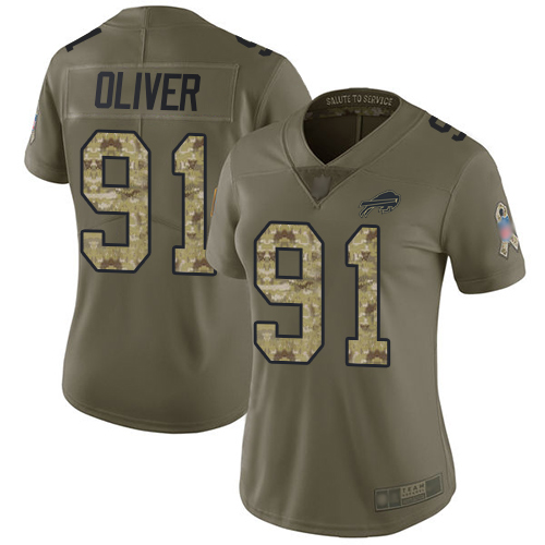 Bills #91 Ed Oliver Olive Camo Women's Stitched Football Limited 2017 Salute to Service Jersey
