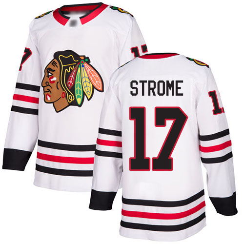 Blackhawks #17 Dylan Strome White Road Authentic Stitched Hockey Jersey