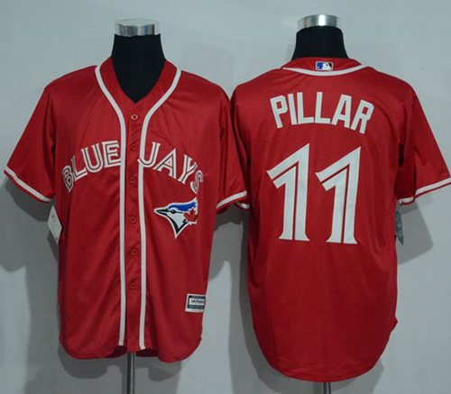 2f1cd0ff6 Blue Jays  11 Kevin Pillar Red New Cool Base Canada Day Stitched MLB Jersey