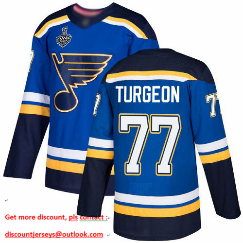 Blues #77 Pierre Turgeon Blue Home Authentic Stanley Cup Final Bound Stitched Hockey Jersey