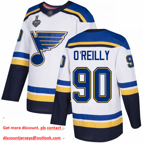 Blues #90 Ryan O'Reilly White Road Authentic Stanley Cup Final Bound Stitched Hockey Jersey