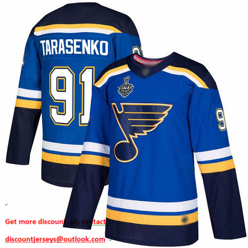 Blues #91 Vladimir Tarasenko Blue Home Authentic Stanley Cup Final Bound Stitched Hockey Jersey