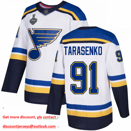Blues #91 Vladimir Tarasenko White Road Authentic Stanley Cup Final Bound Stitched Hockey Jersey