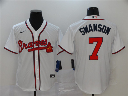 Braves 7 Dansby Swanson White 2020 Nike Cool Base Jersey