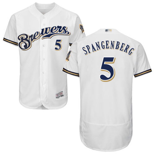 d93bd9556 Brewers  5 Cory Spangenberg White Flexbase Authentic Collection Stitched  Baseball Jersey