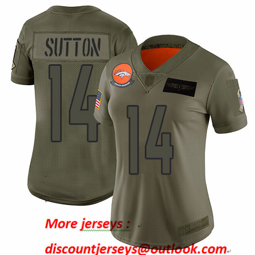 Broncos #14 Courtland Sutton Camo Women's Stitched Football Limited 2019 Salute to Service Jersey