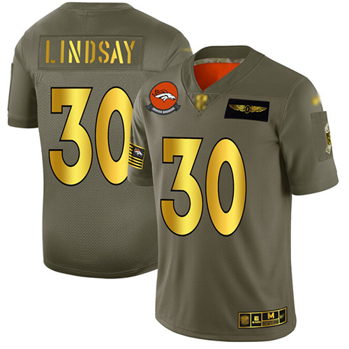 Broncos #30 Phillip Lindsay Camo Gold Men's Stitched Football Limited 2019 Salute To Service Jersey