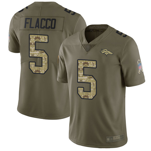 Broncos #5 Joe Flacco Olive Camo Men's Stitched Football Limited 2017 Salute To Service Jersey