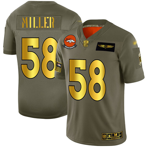 Broncos #58 Von Miller Camo Gold Men's Stitched Football Limited 2019 Salute To Service Jersey