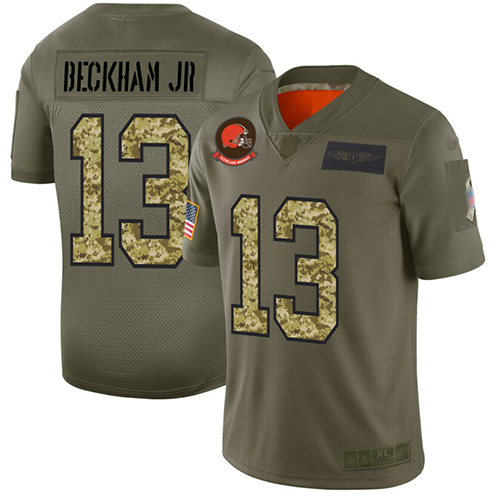 Browns #13 Odell Beckham Jr Olive Camo Men's Stitched Football Limited 2019 Salute To Service Jersey