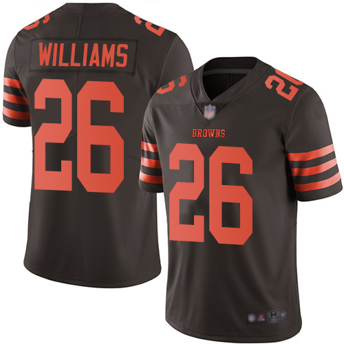 Browns #26 Greedy Williams Brown Youth Stitched Football Limited Rush Jersey