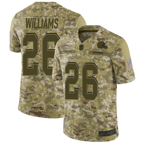 Browns #26 Greedy Williams Camo Men's Stitched Football Limited 2018 Salute To Service Jersey