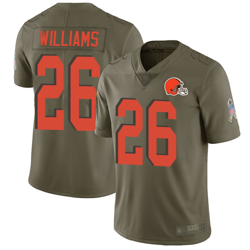 Browns #26 Greedy Williams Olive Men's Stitched Football Limited 2017 Salute To Service Jersey
