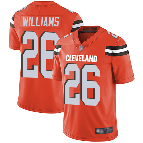 Browns #26 Greedy Williams Orange Alternate Youth Stitched Football Vapor Untouchable Limited Jersey