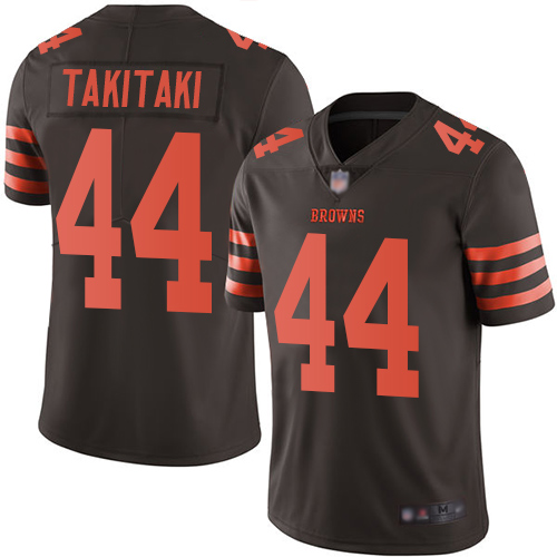 Browns #44 Sione Takitaki Brown Men's Stitched Football Limited Rush Jersey