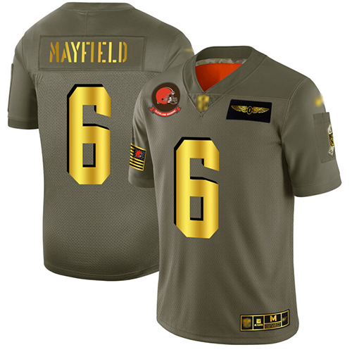 Browns #6 Baker Mayfield Camo Gold Men's Stitched Football Limited 2019 Salute To Service Jersey