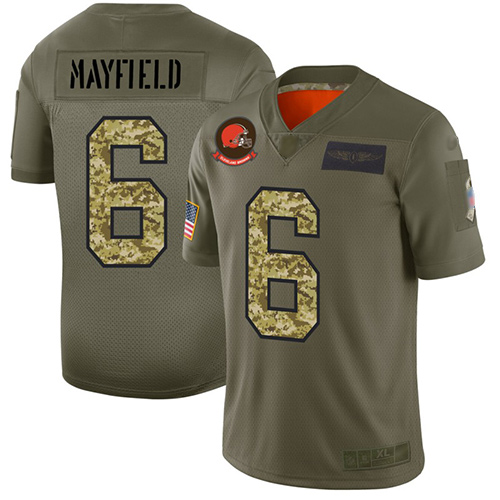 Browns #6 Baker Mayfield Olive Camo Men's Stitched Football Limited 2019 Salute To Service Jersey