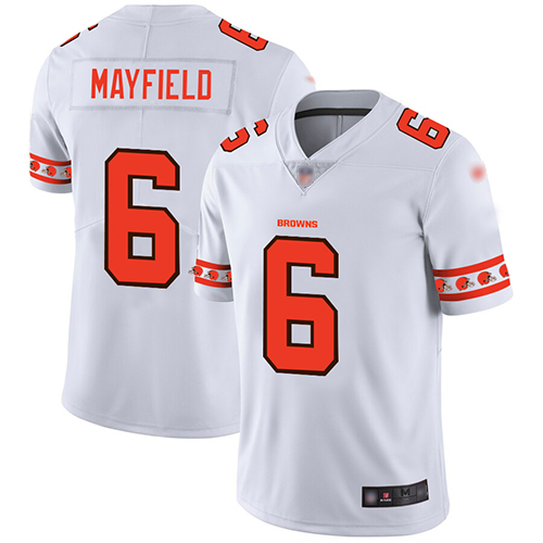Browns #6 Baker Mayfield White Men's Stitched Football Limited Team Logo Fashion Jersey